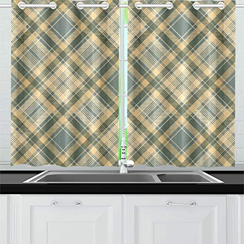 YUMOING Diagonal Fabric Texture Check Plaid Kitchen Curtains Window Curtain Tiers for Café, Bath, Laundry, Living Room Bedroom 26 X 39 Inch 2 Pieces
