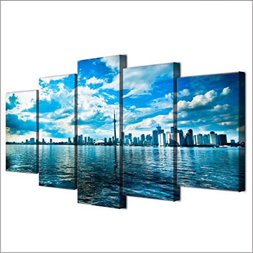 Yyjyxd Canvas Painting Wall Art Frame Hd Prints 5 Pieces Toronto Horizon Lake Blue Sky Pictures Tower Seascape Poster Living Room Decor,4X6/8/10Inch,Without -