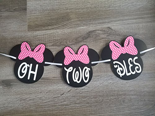 OH TWO -DLES! Banner | 2nd Minnie mouse party supplies | Minnie Mouse Birthday Banner | Minnie Birthday Decorations (Hot Pink Bow) (Chairs Club Matching)
