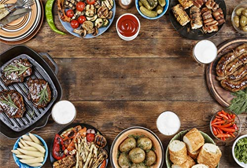 CSFOTO 7x5ft Background Outdoors Food Concept Barbecued Steak Ketchup and Grilled Meal Vegetables Photography Backdrop Family Picnic Holiday Celebration Photo Studio Props Polyester Wallpaper