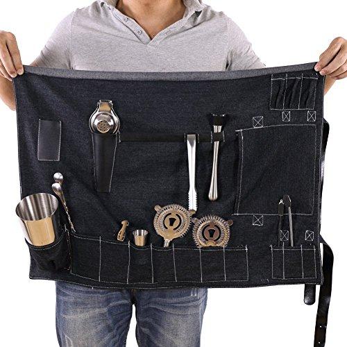 TUYU Bartender Roll Bar Ware Roll Black Denim 16 Pockets Cocktail Making Tool Set Portable Tote Bag or Shoulder Bag for Travelling Mixologists BD0018