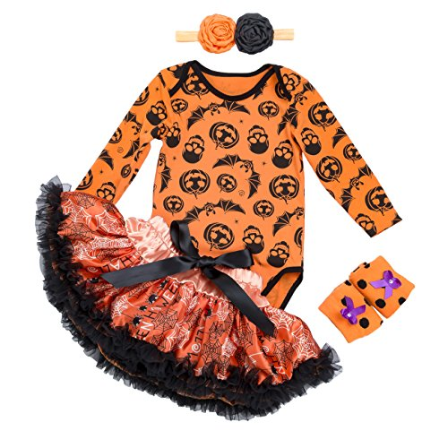 Halloween Outfits for Baby Girls - 4 Pieces Newborn Pumpkin Costume Romper Tutu Dress Set, S(0-3 Months), (0 To 3 Month Old Halloween Costumes)