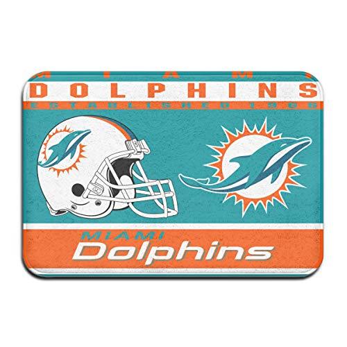 (Dalean Miami Dolphins Anti-Sliding Door Mat Floor Mat,Do Not Fade,15.75inx23.62in,Suitable Indoor Floor MATS Such As Entrance,)