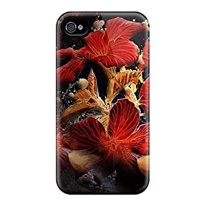 Premium FLJ24723LIQG Cases With Scratch-resistant/ Red Digital Flowers Cases Covers For Iphone 6plus
