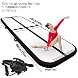 FBSPORT 9.84ft/13.12ft/16.4ft/19.68ft air track tumbling mat inflatable gymnastics airtrack with Electric Air Pump for Practice Gymnastics,Cheerleading, Tumbling,Parkour, and Martial Arts