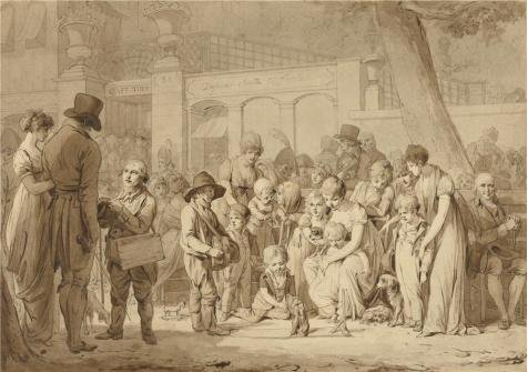The Perfect Effect Canvas Of Oil Painting 'Compositional Drawing For 'Entrance To The Jardin Turc', About 1810 - 1812 By Louis-Leopold Boilly' ,size: 10x14 Inch / 25x36 Cm ,this Beautiful Art Decorative Canvas Prints Is Fit For Kids Room Artwork And Home Artwork And Gifts (Halloween Opening Theme Mp3)