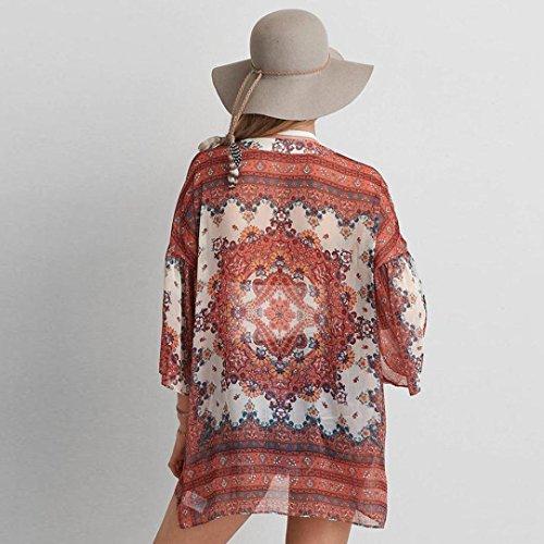 Abrigo de mujer,RETUROM El bikiní flojo de la rebeca del mantón de la gasa de la impresión floral de las nuevas mujeres cubre para arriba Naranja