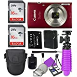 Canon PowerShot ELPH 180 (Red) with 20.0 MP CCD Sensor and 8x Optical Zoom with 2x Sandisk 16 GB SD Memory Cards + Tripod + Deluxe Case + Card Reader + Cleaning Kit