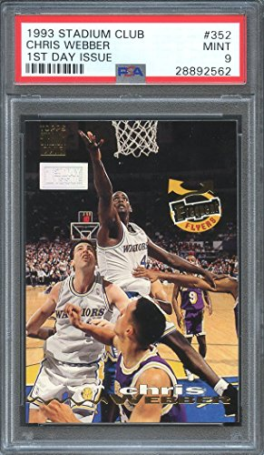 1993-94 stadium club 1st day issue #352 CHRIS WEBBER rookie card (pop 5) PSA 9 Graded - Stadium First Day Club Issue