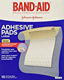 Band-Aid Brand Adhesive Bandages, Large Adhesive Pads, 10-Count Bandages (Pack of 6)