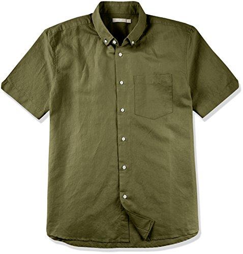 Isle Bay Linens Men's Short Sleeve Toile Woven Standard Shirt Army Green Small