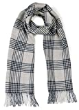 Cross Hatch Plaid Scarf 100% Pure Baby Alpaca - Unequalled Luxury for Men & Women (Silver Grey / Navy)