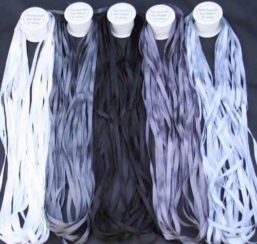 New ThreadNanny 5 Spools of 100% Pure Silk Ribbons - GREY Tones - 50 mts x 4mm by ThreadNanny
