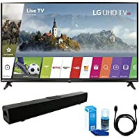 LG 49UJ6300 49 UHD 4K HDR Smart LED TV (2017 Model) w/ Sound Bar Bundle Includes, Solo X3 Bluetooth Home Theater Sound Bar, 6ft High Speed HDMI Cable and LED TV Screen Cleaner