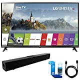 LG 49UJ6300 49' UHD 4K HDR Smart LED TV (2017 Model) w/Sound Bar Bundle Includes, Solo X3 Bluetooth Home Theater Sound Bar, 6ft High Speed HDMI Cable and LED TV Screen Cleaner