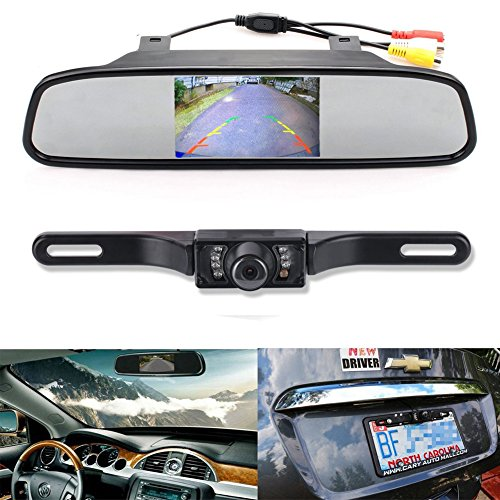 Backup Camera and Monitor Kit EinCar 4.3 Car Vehicle Rearview Mirror Monitor for DVD VCR Car Reverse Camera CMOS Rear-view License Plate Car Rear Backup Parking Camera With 7 LED Night Vision