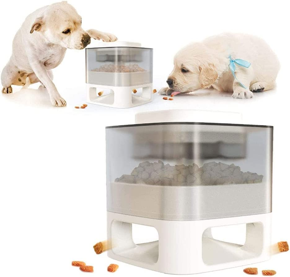 Interactive Dog Food Feeder Automatic Pet Dry Food Dispenser with Press-and-Leak Design, Dog Puzzle Toys Slow Feeder and Healthy Eating Toys (White)