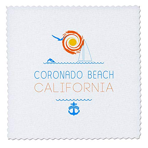 - 3dRose Alexis Design - American Beaches - Coronado Beach, California elegant text, images. Summer joy - 25x25 inch quilt square (qs_311562_10)