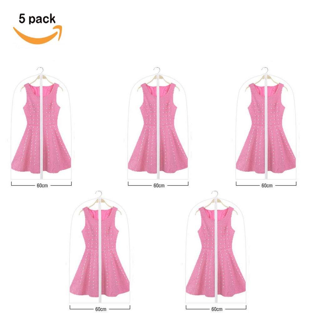 Zervatek Hanging Garment Bag Lightweight Suit Bags Travel Washable Suit Cover for Dress Shirts Coat 5 Pack(60100)