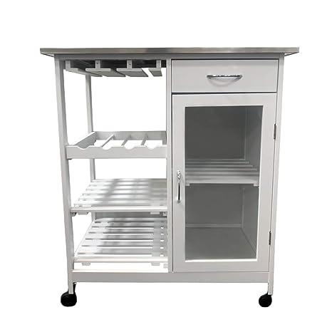 MAIMAITI Carrello da cucina,Bianco,piano in Acciaio inossidabile,76x48x88cm