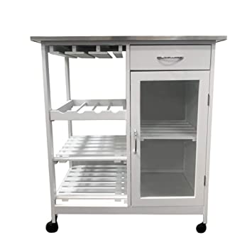 Maimaiti Kitchen Trolley White Plan In Stainless Steel