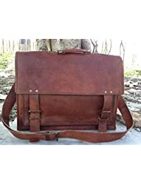 HandMadeCart  18 Inch Michigan Mens Leather Briefcase  18 Inch Michigan Mens Leather Messanger Baag