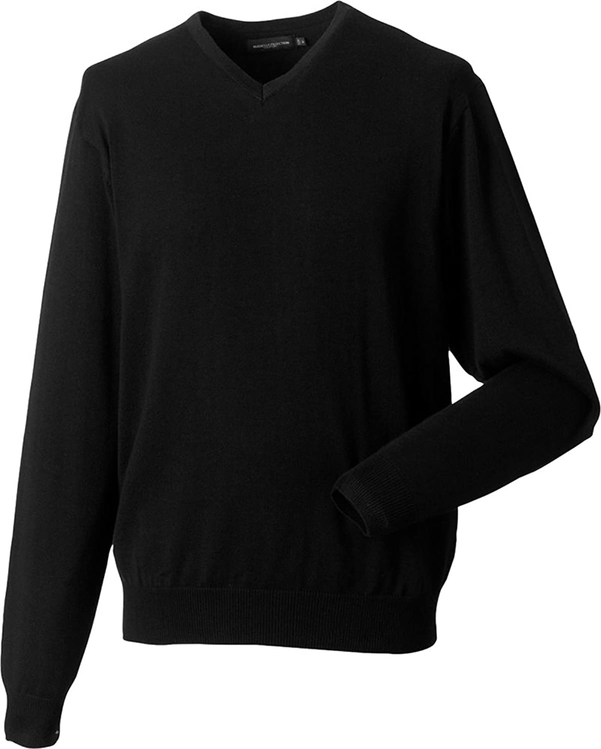 Russell Collection V-Neck Knitted Mens Pullover Soft Warm Gents Fleece Outerwear