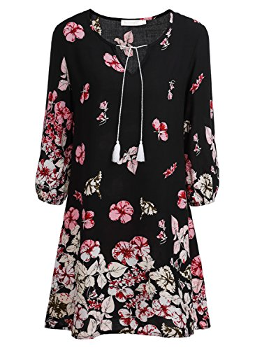 BAISHENGGT Women's Tied V-Neck Ethnic Printed Casual Mini Dress Large Red Floral #3