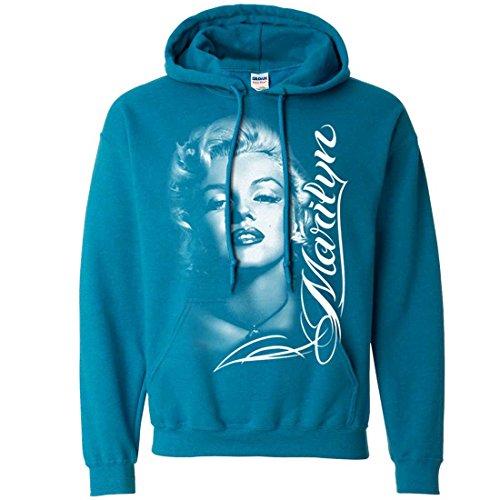Marilyn Monroe Portrait Signature Sweatshirt Hoodie - Antique Sapphire X-Large for $<!--$26.00-->