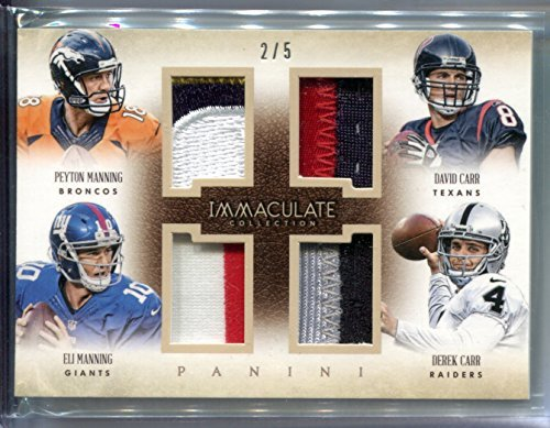 BROTHERS Quad Peyton & Eli Manning Derek & David Carr #2/5 Football Trading Card 2014 Panini Immaculate Game Worn Patches #4-BROS