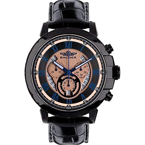 - Balmer Atalante Men's Swiss Chronograph Watch - Black Croco Grain Genuine Leather Strap, Black Case, Black and Gold Dial