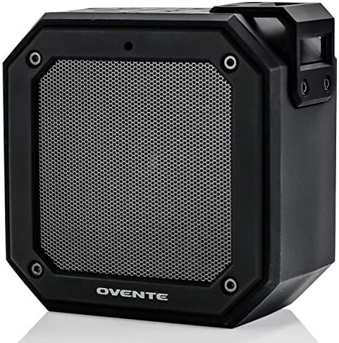 Ovente Wireless Waterproof Portable Mini Stereo Speaker Indoor Home or Outdoor Travel, TWS Pairing for Android, iPhone, Desktop and Laptops, Black ZA1200B