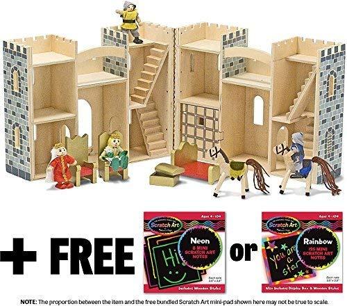 Fold & Go Wooden Castle + FREE Melissa & Doug Scratch Art Mini-Pad Bundle [37020]