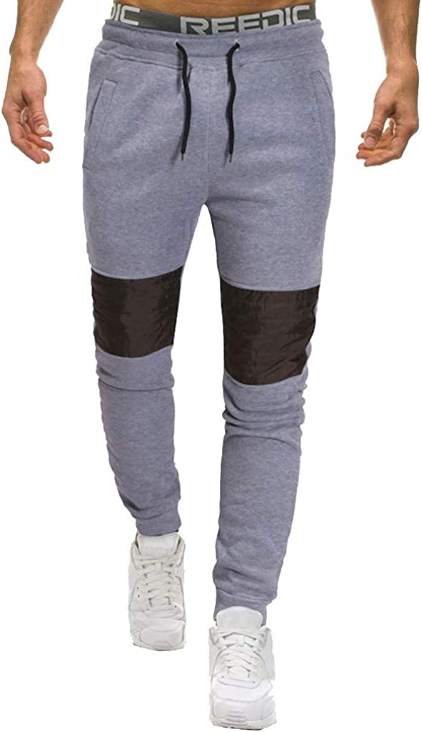 MODOQO Sweatpants for Men Drawstring Flat Front Casual Cotton Baggy Long Warm Sport Pant for Outdoor Running Gym