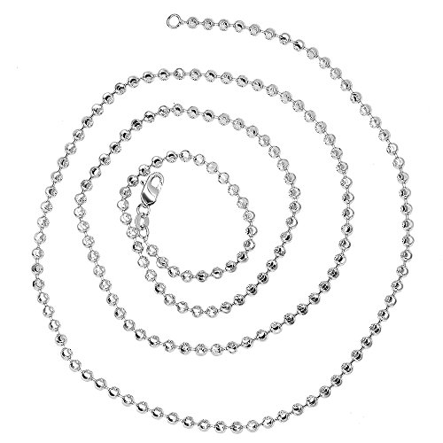Luxurman 14K Solid Gold 3mm Diamond Moon Cut Ball Chain Bead Necklace Lobster Clasp (white-gold, 26