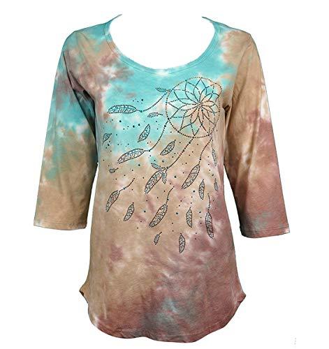 Cactus Bay - Breezy Dreamcatcher, Scoop Neck, SW Theme Tie Dye Fashion Top ()