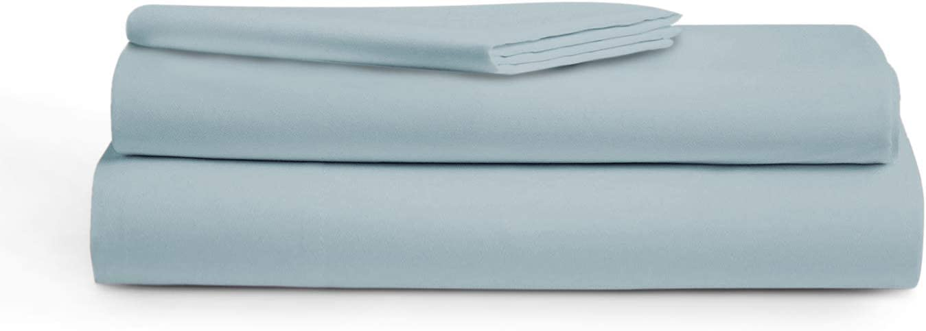 "AUDLEY HOME 400 Thread Count 100% Egyptian Cotton, 3 Piece Bedsheet Set, 18"" Deep Pockets, Smooth & Soft Sateen Weave, Hotel Quality (Light Blue, Twin XL)"