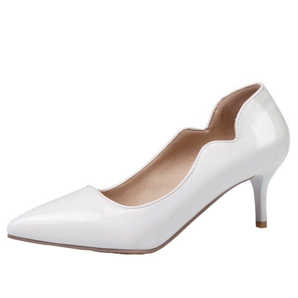 Smilice Women Plus Size US 0-13 Mid Heel Pointy Toe New Dress Pumps 6 Colors Available New B074RFN41V 43 EU = US 10.5 = 26.5 CM|White 2