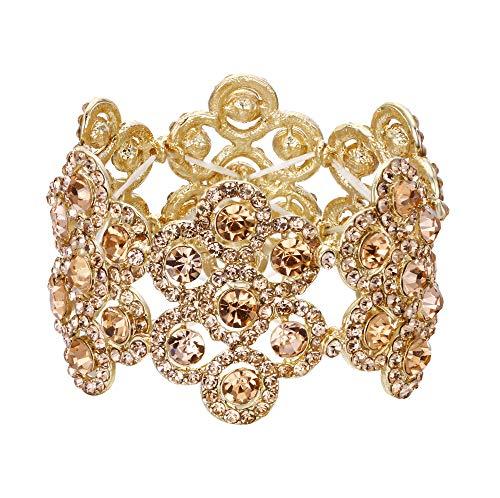 - Flyonce Women's Austrian Crystal Elegant Wedding Bridal Flower Stretch Bracelet for Party Gold-Tone Champagne Color