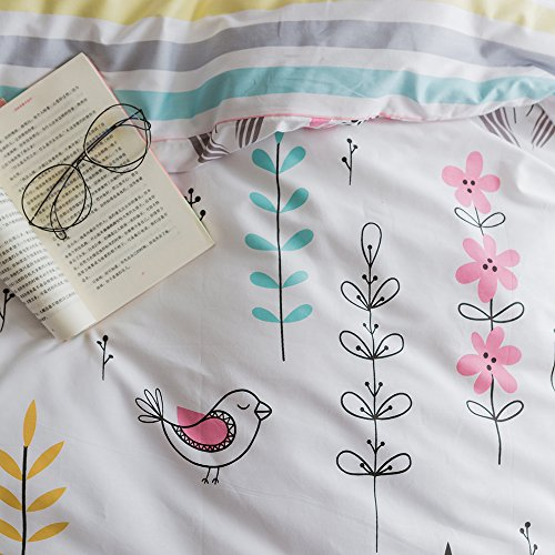 BuLuTu Floral Bird print out Pattern Duvet Cover Sets