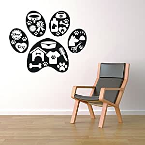 """Pet Accessories Dog Puppy Paw Decor - Wall Decal Vinyl Sticker W34 30""""x24"""" (Message for Color)"""