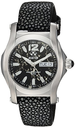 REACTOR Women's Curie mid Stainless Steel Swiss-Quartz Sport Watch with Leather-Stingray Strap, Black, 18 (Model: 90201