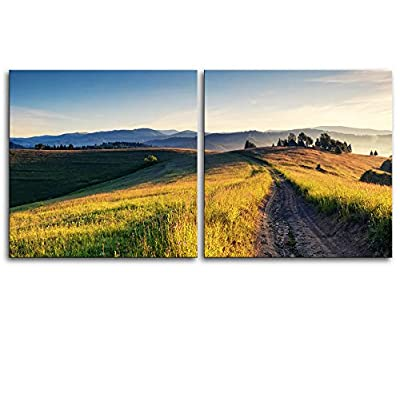 Canvas Prints Wall Art - Majestic Sunny Hills Under Morning Sky with Clouds. Carpathian, Ukraine, Europe. - 12