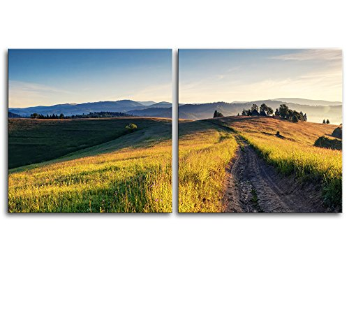 Majestic Sunny Hills Under Morning Sky with Clouds Carpathian Ukraine Europe x 2 Panels