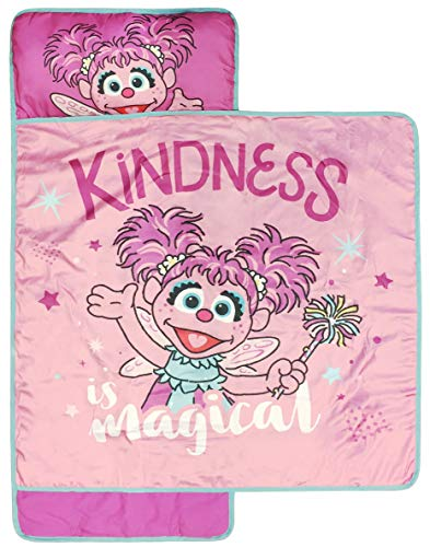Sesame Street Kindness Is Magic Nap Mat - Built-in Pillow and Blanket featuring Abby Cadabby - Super Soft Microfiber Kids'/Toddler/Children's Bedding, Ages 3-7 (Official Sesame Street Product)