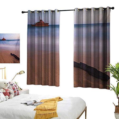 Grommet Curtains Shipwreck,Shipwreck on Beach at Dusk in South Australian Lands by Sea Shore Navy Nautical,Multicolor 84