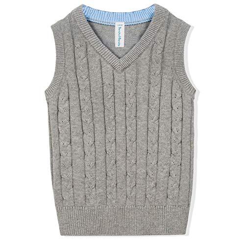 Benito & Benita Boys' Sweater Vest School V-Neck Uniforms Pullover Sweaters For Boys 3-12Y (11-12Y/152CM, Grey)