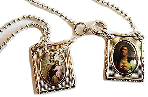 Escapulario de la Virgen del Carmen. Jesús. Our Lady of Mount Carmel Scapular. Silver Color.