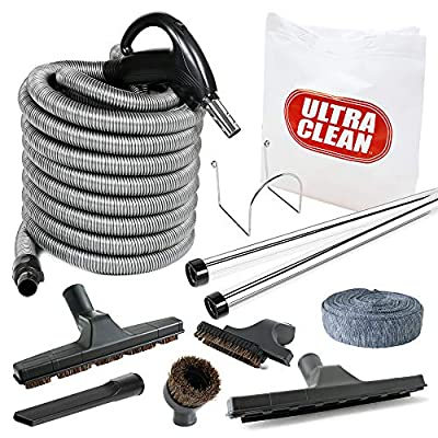 Plastiflex Ultra Clean Central Vacuum Deluxe Hardwood, Bare Floor and Carpet Kit with 30ft Hose and Accessories