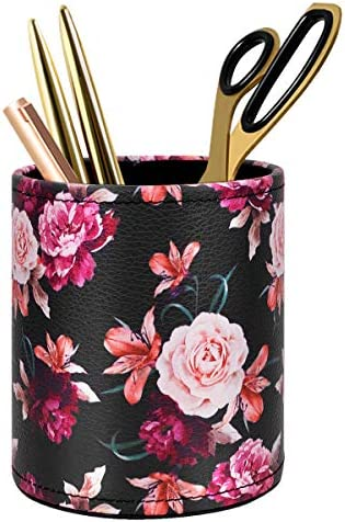 Lunarable Flower Pencil Pen Holder Charcoal Grey and White 3.6 X 3.2 Ceramic Pencil Holder for Desk Office Accessory Hand Drawn Floral Blossoms Pattern with Monochrome Outline Lily Petals